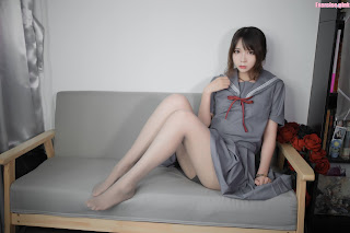 Cosplay 疯猫ss - 蓝灰JK Blue School Girl Uniform
