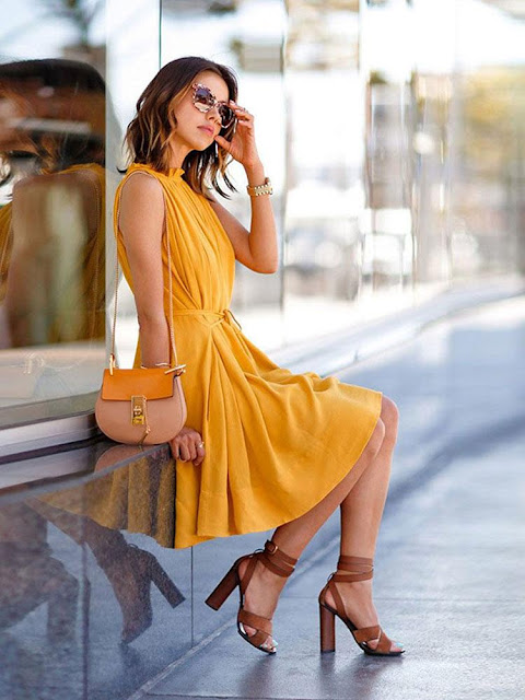 Yellow Sleeveless Pleated Dress