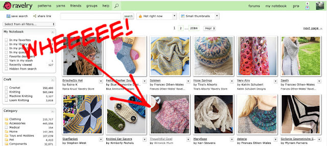 "Image shows a screenshot of a Ravelry page showing the Thoughtful Cowl on the ""Hot Right Now"" list"
