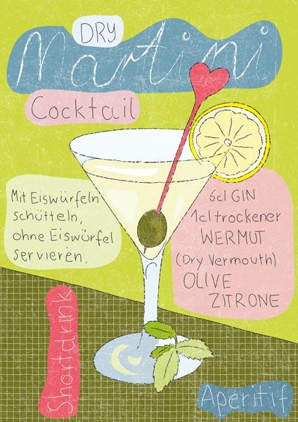 Illustrierte Mix-Anleitung für Martini