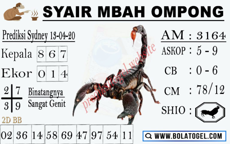 Prediksi Sidney Senin 13 April 2020 - Syair Mbah Ompong