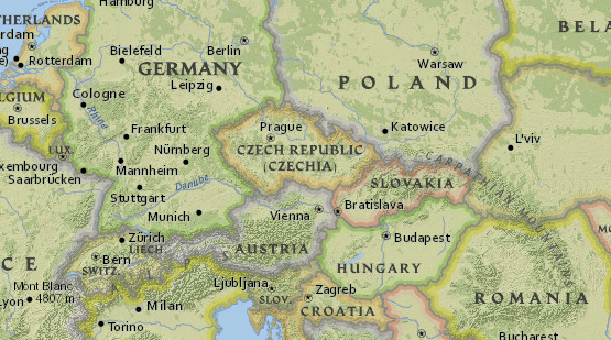 Map of Czech Republic and neighboring countries — from National Geographic MapMaker Interactive