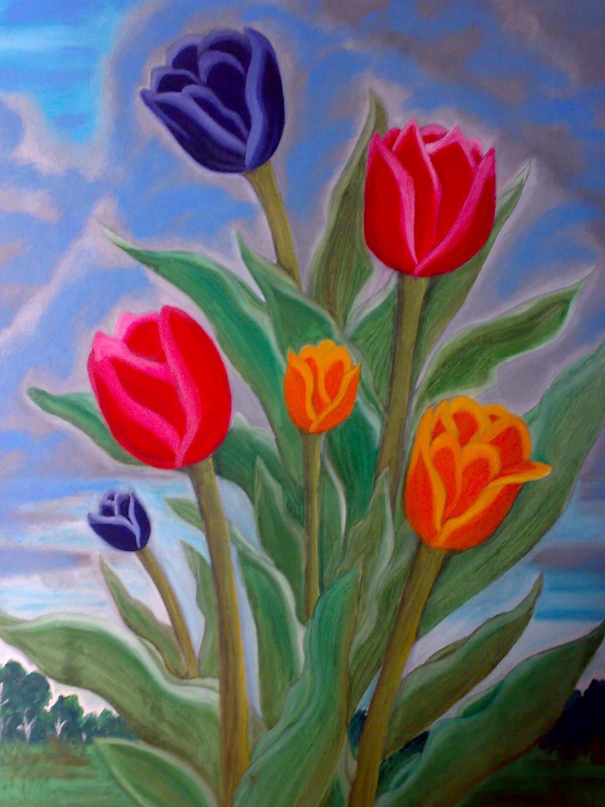 61 Gambar Lukisan Bunga Tulip Sederhana Terbaik
