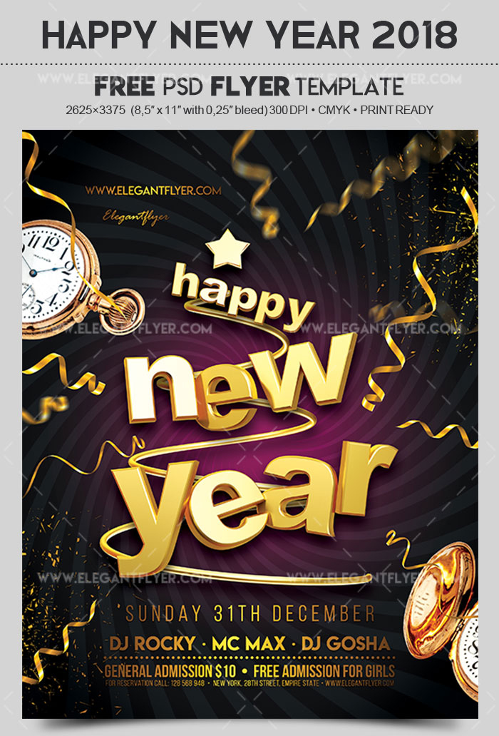 Download Happy New Year 2018 Flyer Psd Template Free Free Design