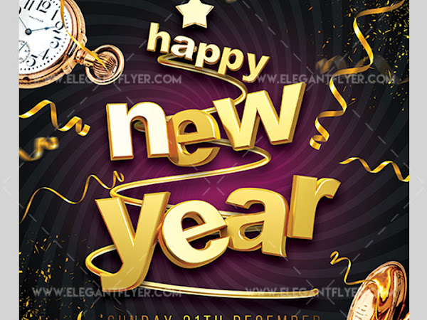 Download Happy New Year 2018 - Flyer PSD Template Free