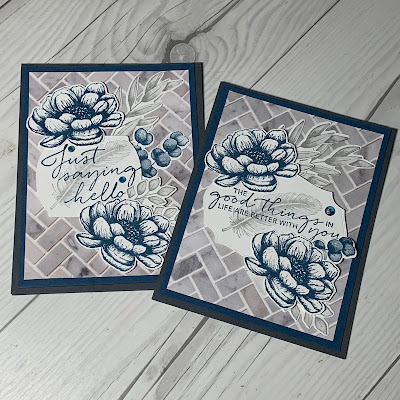 Two versions of a cards made using Stampin' Up! Tasteful Touches Stamp Set