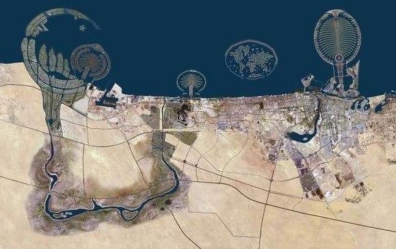 вид из космоса Дубаи