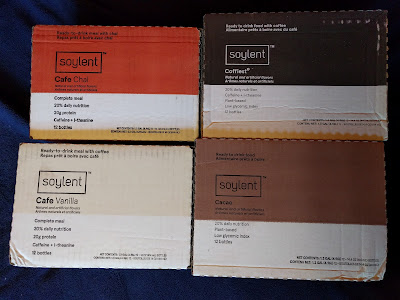 The four Soylent flavors I bought, still in their boxes