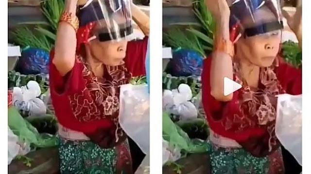 Polos, Video Penjual Sayur Pakai Face Shield Terbalik, Satu Pasar Terhibur