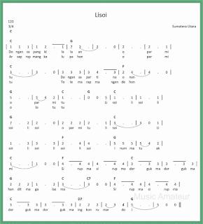 not angka lagu lisoi lagu daerah sumatera utara