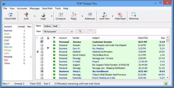 أفضل, برنامج, للتنبيه, بجميع, رسائل, حسابات, البريد, الالكتروني, وإرسال, الإشعارات, POP ,Peeper