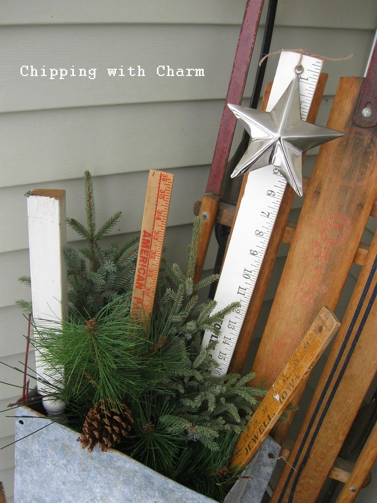 Chipping with Charm: Winter Planters, greens yardsticks and junk...www.chippingwithcharm.blogspot.com