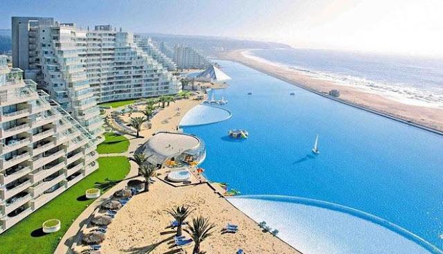 kolam renang terbesar di dunia di San Alfonso Del Mar, World's Largest Swimming Pool San Alfonso Del Mar, kolam renang buatan manusia air laut, kolam terbesar dan cantik di CHile, kolam cantik dan terbesar di dunia,