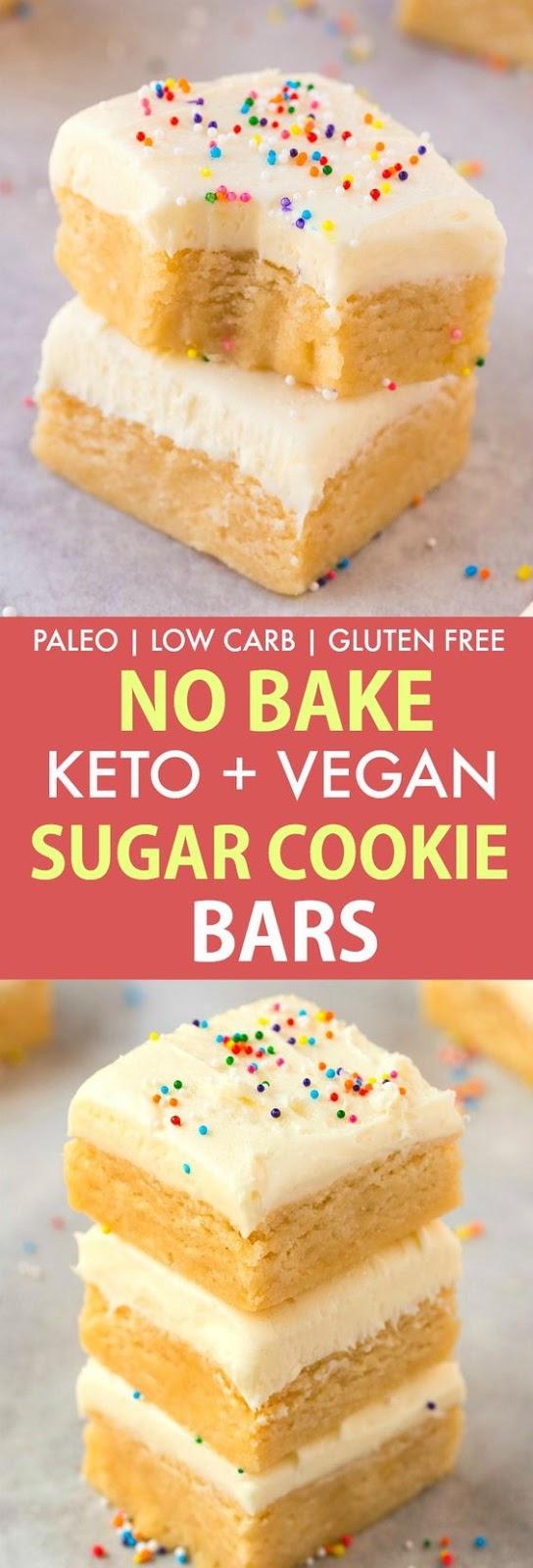 Keto Low Carb No Bake Sugar Cookie Bars Recipe