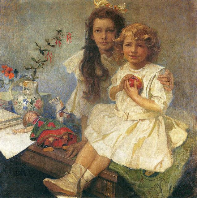 Альфонс Муха - Портрет Ярославы и Джири - детей художника. 1919