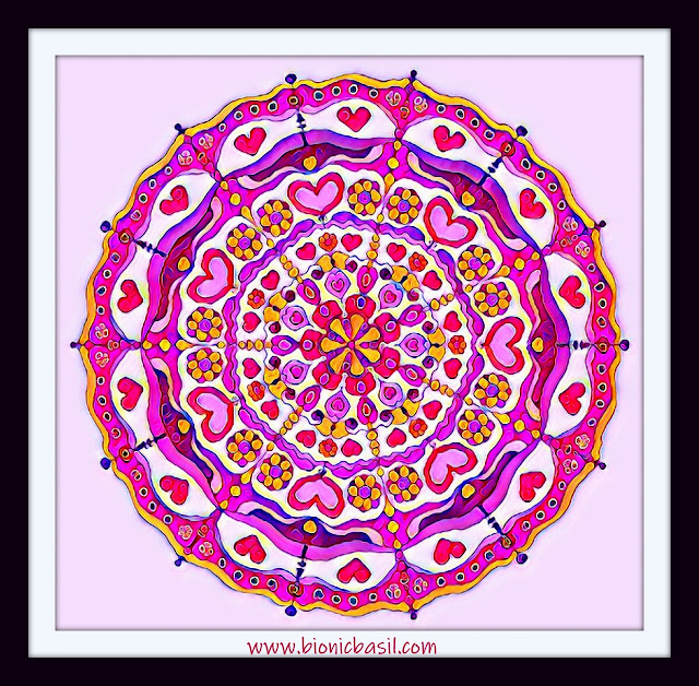 Mandalas on Monday ©BionicBasil® Colouring With Cats Mandala #100 coloured by Cathrine Garnell