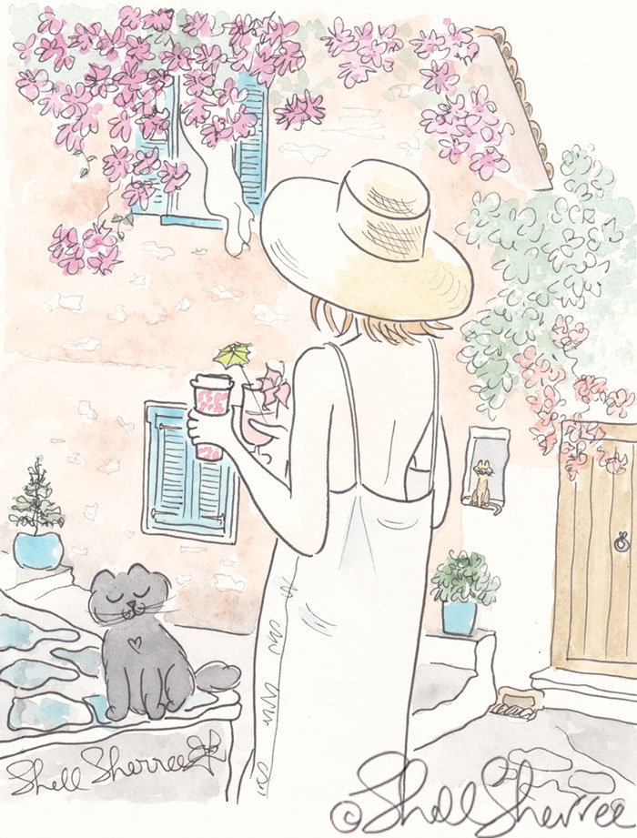 Greek Chic - Fashion & Fluffballs Illustration Linen Sundress in Greece : © Shell Sherree