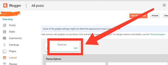 How to add or remove or change blogger favicon or logo 3