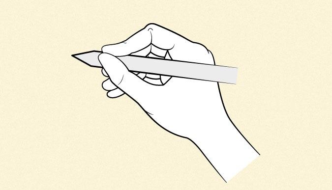 Anime yang memegang pena atau pensil