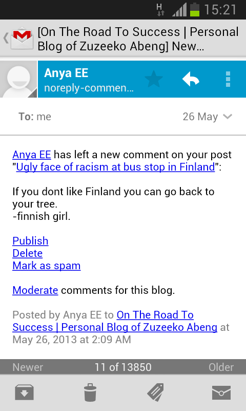 Racist Blog Comment By Finnish Girl Personal Blog Of Zuzeeko Abeng