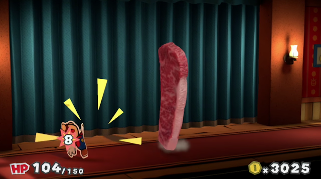 Slab of meat steak chunk frozen Paper Mario Color Splash original character NPC fight Tangerino Grill