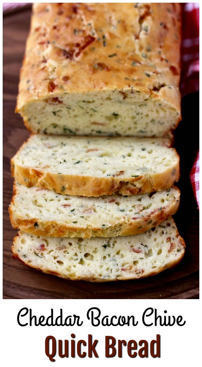 Sliced Cheddar Bacon Chive Quick Bread Loaf