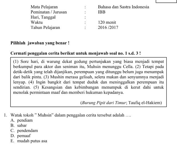 Download Soal TO UN SMA Kunci Jawaban