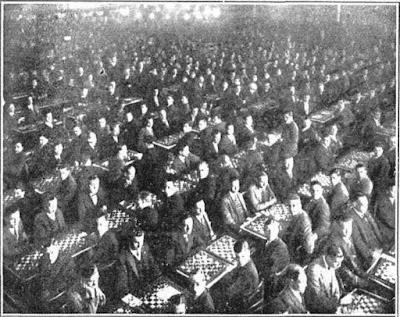 Simultáneas de ajedrez por el Dr. Alexander Alekhine en el Iris Park de Barcelona en 1928