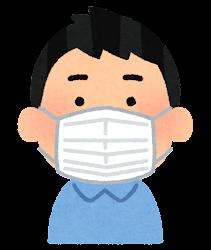 マスクを付けた人の表情のイラスト(男性・普通の顔)