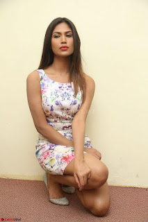 Nishi Ganda stunning cute in Flower Print short dress at Tick Tack Movie Press Meet March 2017 094.JPG