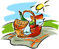 graphic of a picnic basket full of food on a sunny day
