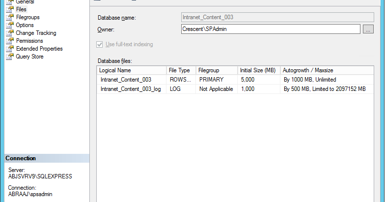 Change SQL Server Database Initial Size and Auto Growth