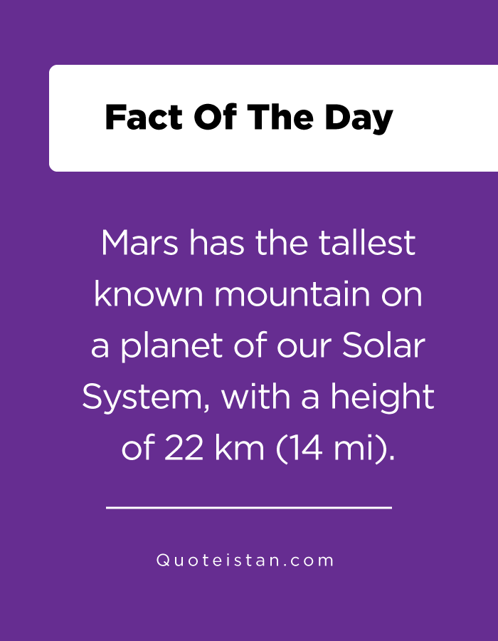 Mars has the tallest known mountain on a planet of our Solar System, with a height of 22 km (14 mi).