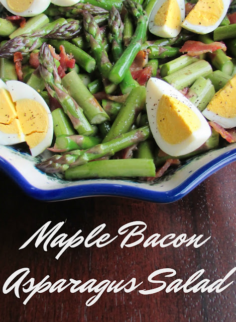 This simple salad showcases fresh spring asparagus with a simple dressing, some bacon and eggs. It is a great way to celebrate the simplicity of spring.