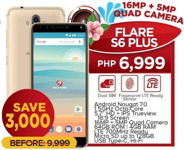 Cherry Mobile Flare S6 Plus with 4GB RAM, Quad Cameras Now Only Php6,999