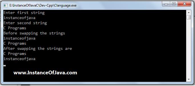 swap strings in c program