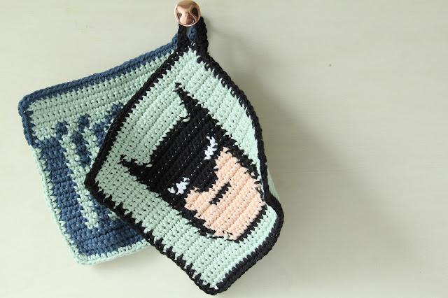 Studio Mojo, haken, Gehaakt/ crochet, pannenlap, Batman,