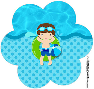 Boy in Pool: Free Printable Cupcake Wrappers and Toppers.