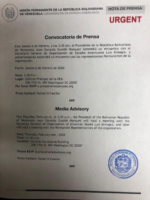 Juan Guaidó se reunirá este jueves con Luis Almagro, secretario general de la OEA