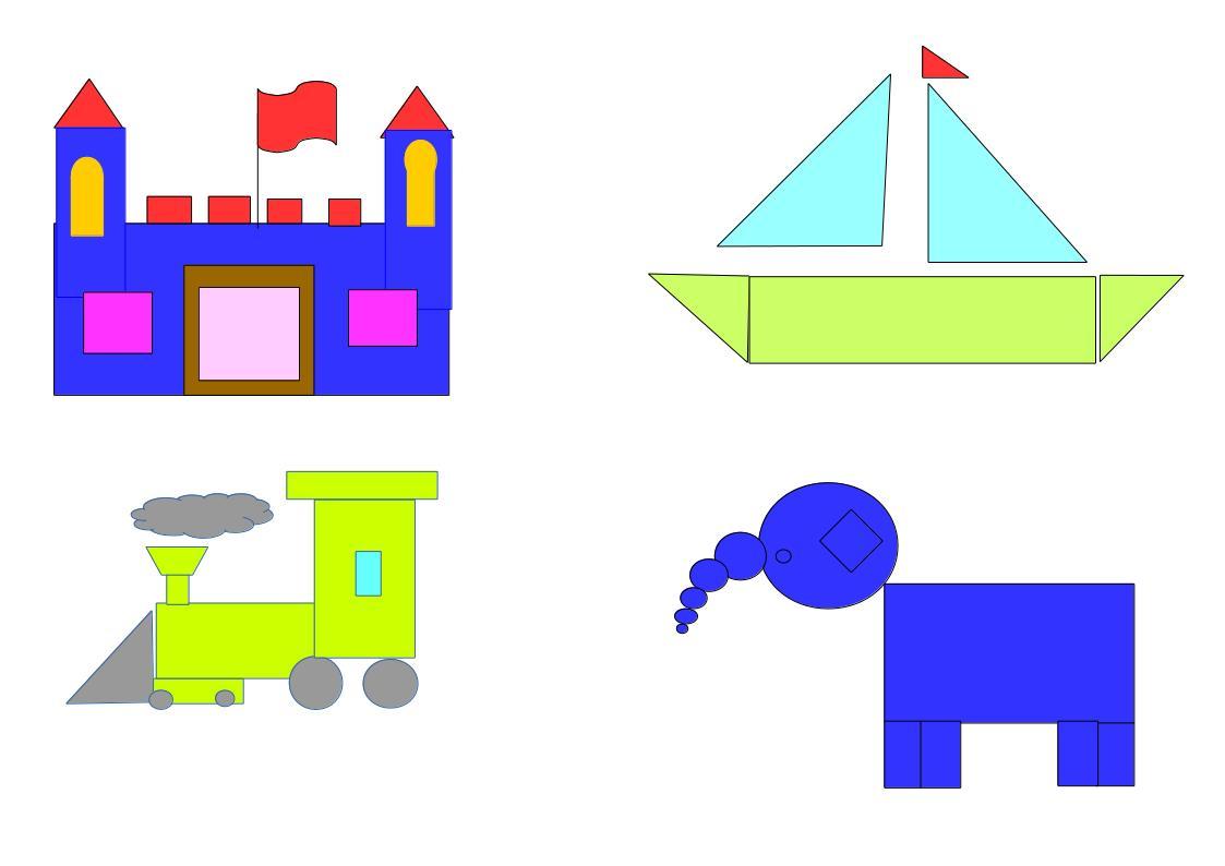 Escuela Italiana Primaria  Dibujos con formas Geomtricas