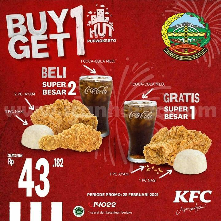 KFC Promo HUT PURWOKERTO BANYUMAS! Beli 1 GRATIS  1