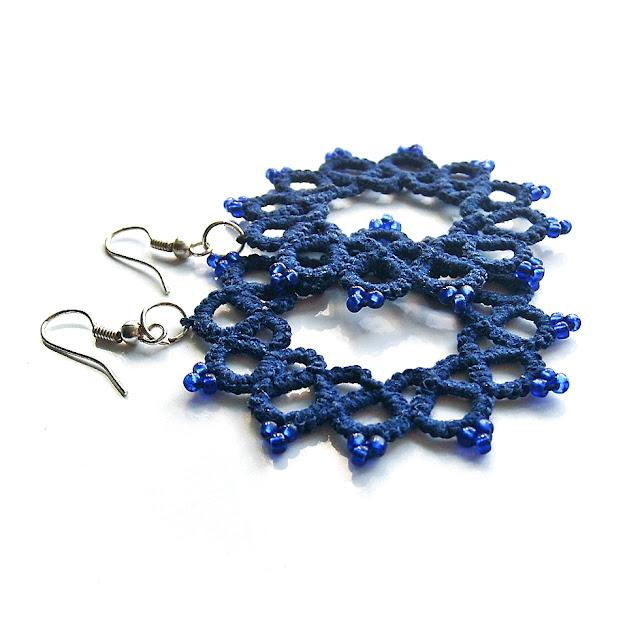 niebieskie kolczyki frywolitkowe