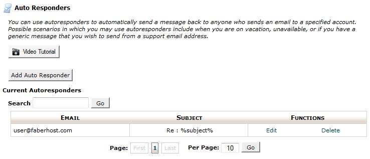 halaman auto responders pada email - faberhost.com