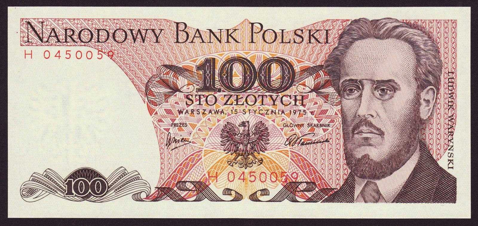 Poland Banknotes 100 Zloty banknote 1975 Ludwik Warynski