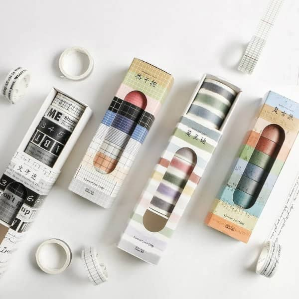 boxed sets of grid and text pattern washi tapes
