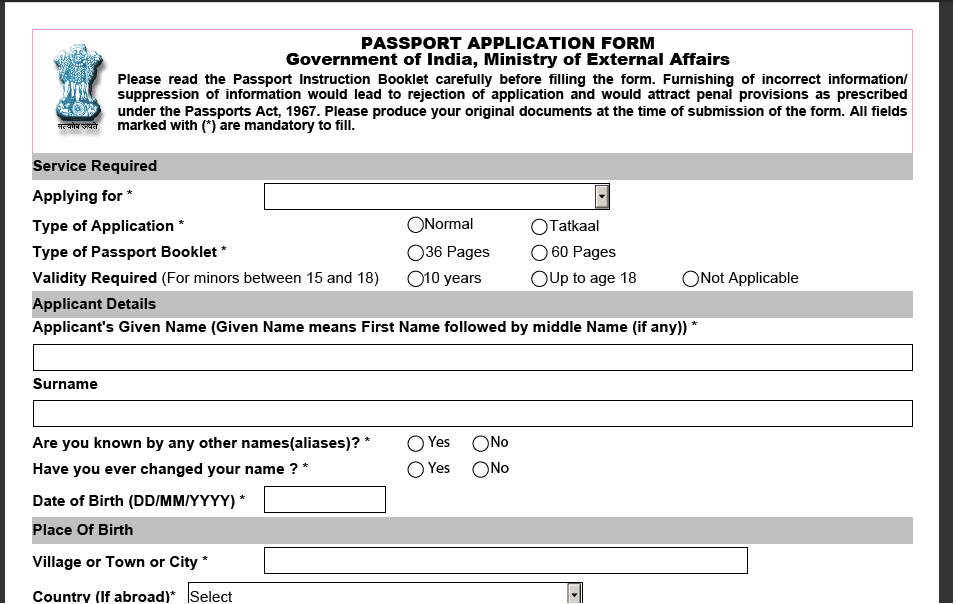 Guidelines For Online Passport Application Passport Republic Of India