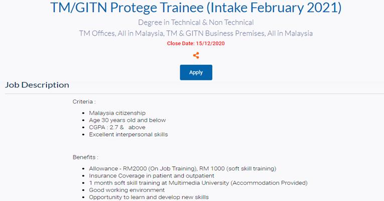 Pengambilan terkini TM/GITN Protege Trainee di Telekom Malaysia (TM)