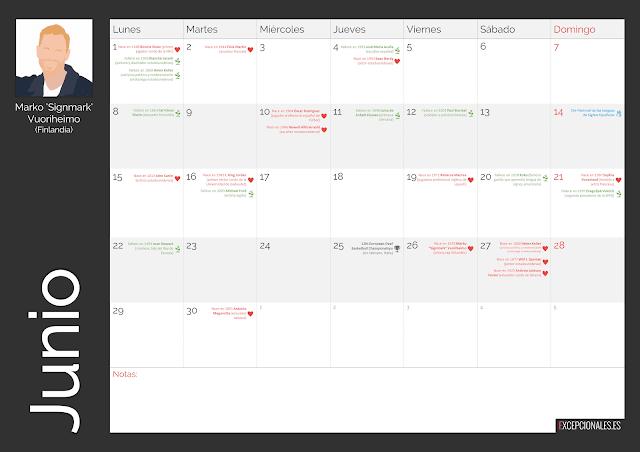 Calendario Excepcionales junio 2020