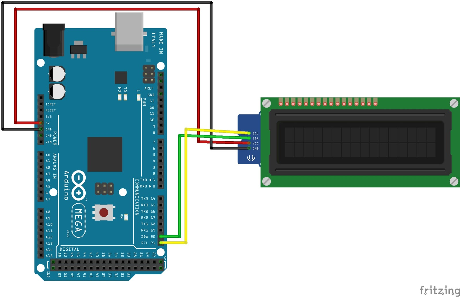 How to connect an I2C LCD Display to an Arduino MEGA 2560