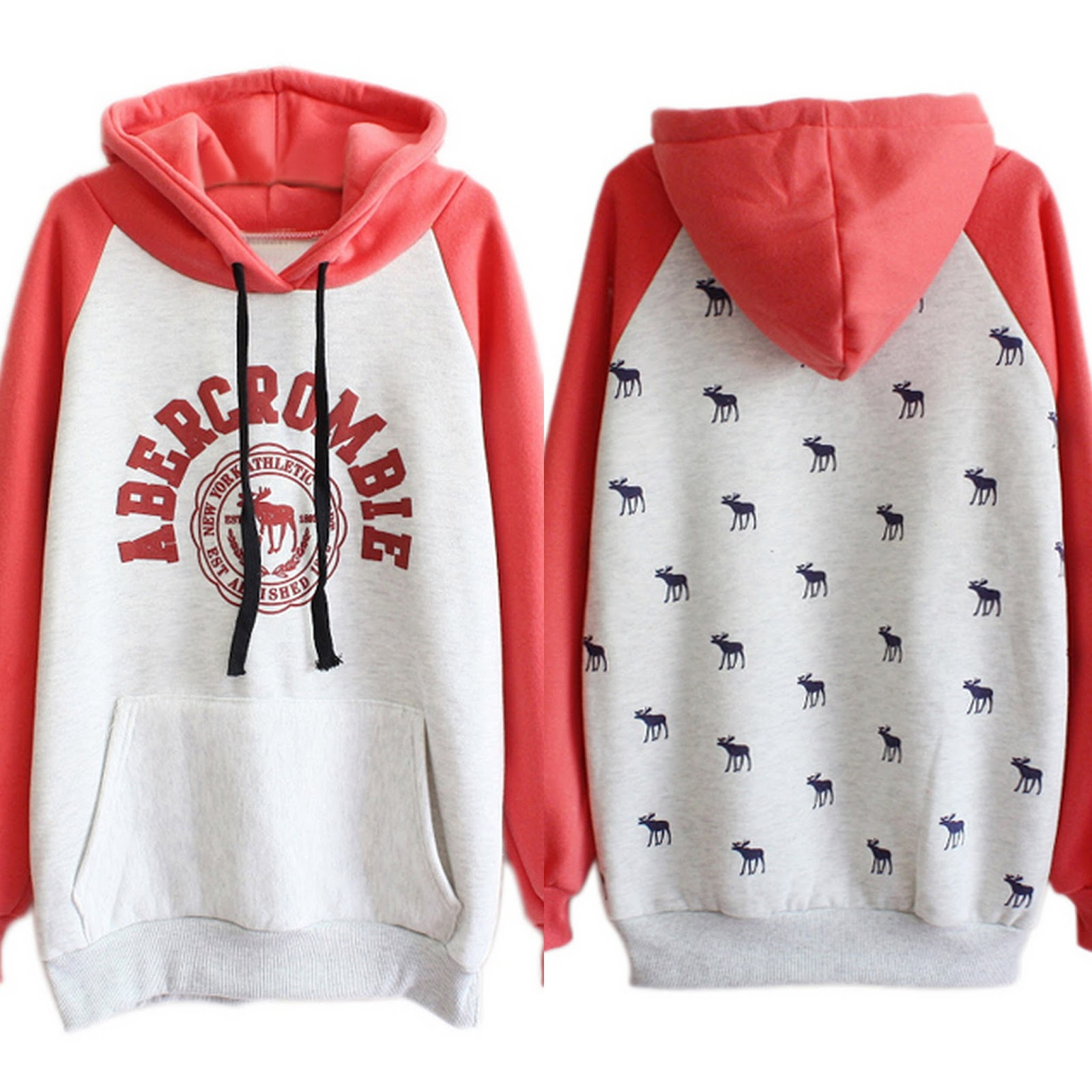ROMWE Color Block Letters Print Red Hoodie